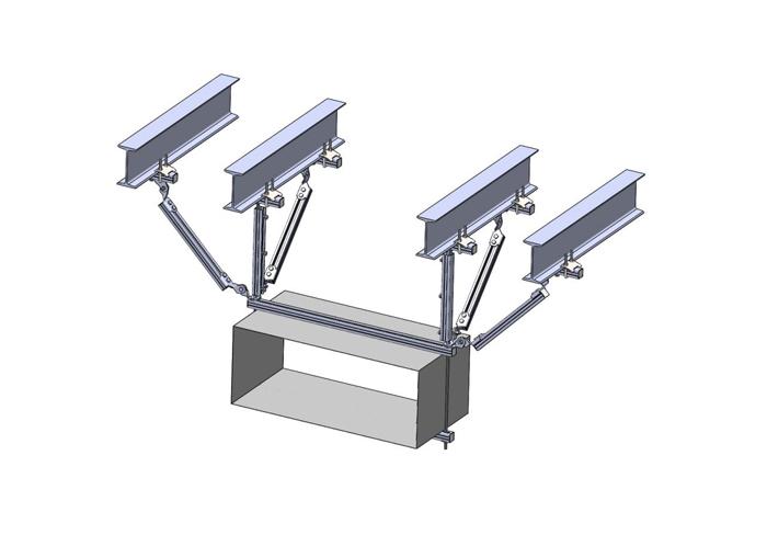 单风管侧纵向抗震支吊架钢结构安装